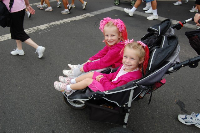 Charlotte and Annabelle sporting their pink!